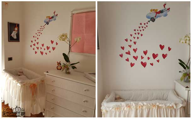 Decorazioni pareti per bambini disegno idea disegni sui - Muri camerette bambini ...